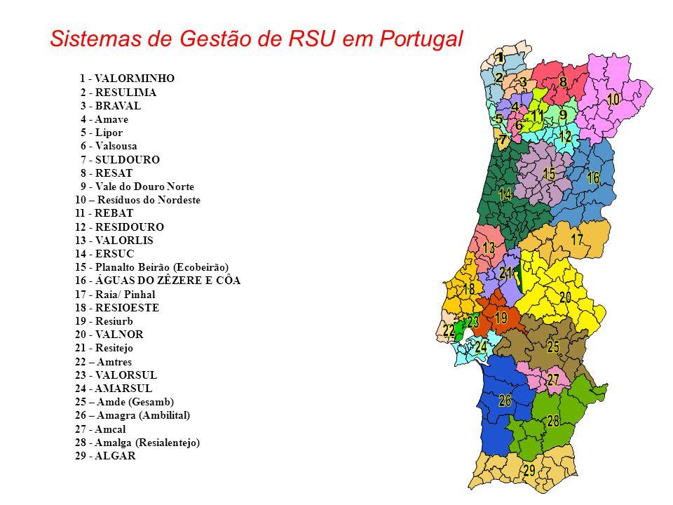 1 - VALORMINHO 2 - RESULIMA 3 - BRAVAL 4 - Amave 5 - Lipor 6 - Valsousa 7 - SULDOURO 8 - RESAT 9 - Vale do Douro Norte 10 – Resíduos do Nordeste 11 -