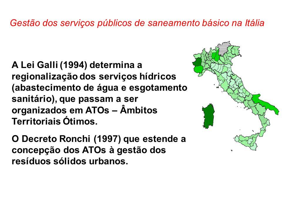 A Lei Galli (1994) determina a regionalização dos serviços hídricos (abastecimento de água e esgotamento sanitário), que passam a ser organizados em A