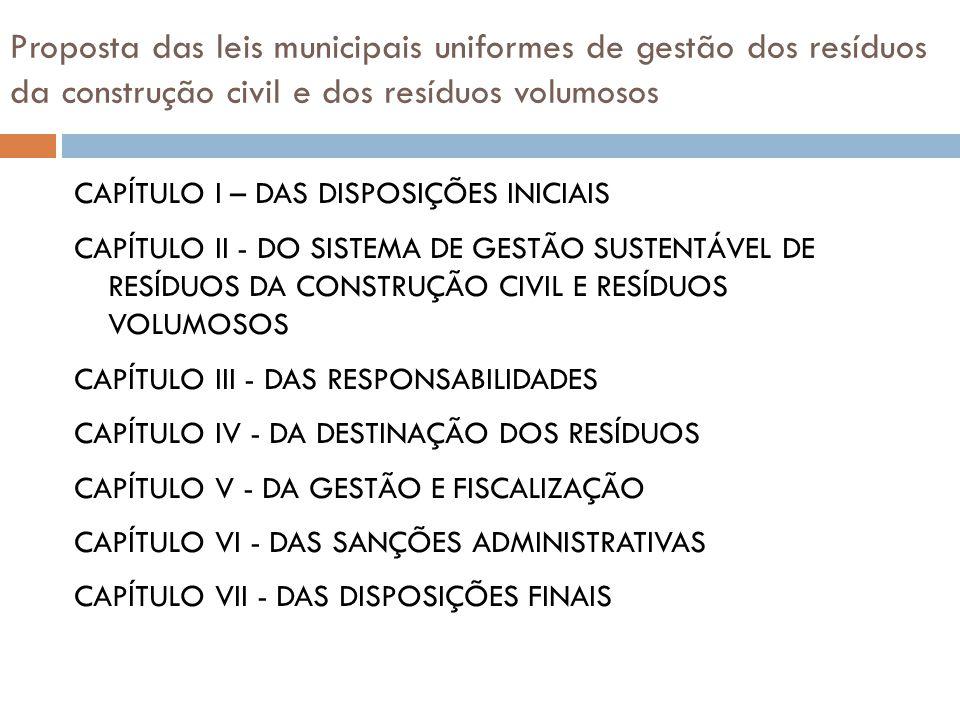 Proposta das leis municipais uniformes de gestão dos resíduos da construção civil e dos resíduos volumosos CAPÍTULO I – DAS DISPOSIÇÕES INICIAIS CAPÍT