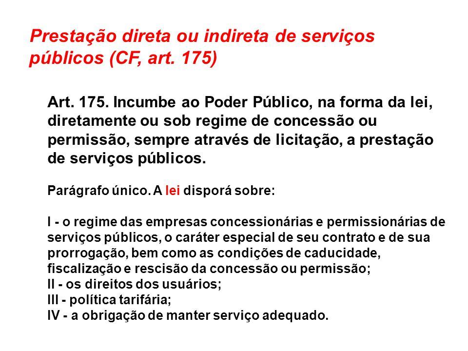 Prestação direta ou indireta de serviços públicos (CF, art. 175) Art. 175. Incumbe ao Poder Público, na forma da lei, diretamente ou sob regime de con