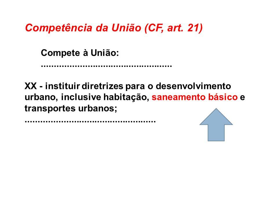 Competência da União (CF, art. 21) Compete à União:................................................... XX - instituir diretrizes para o desenvolviment