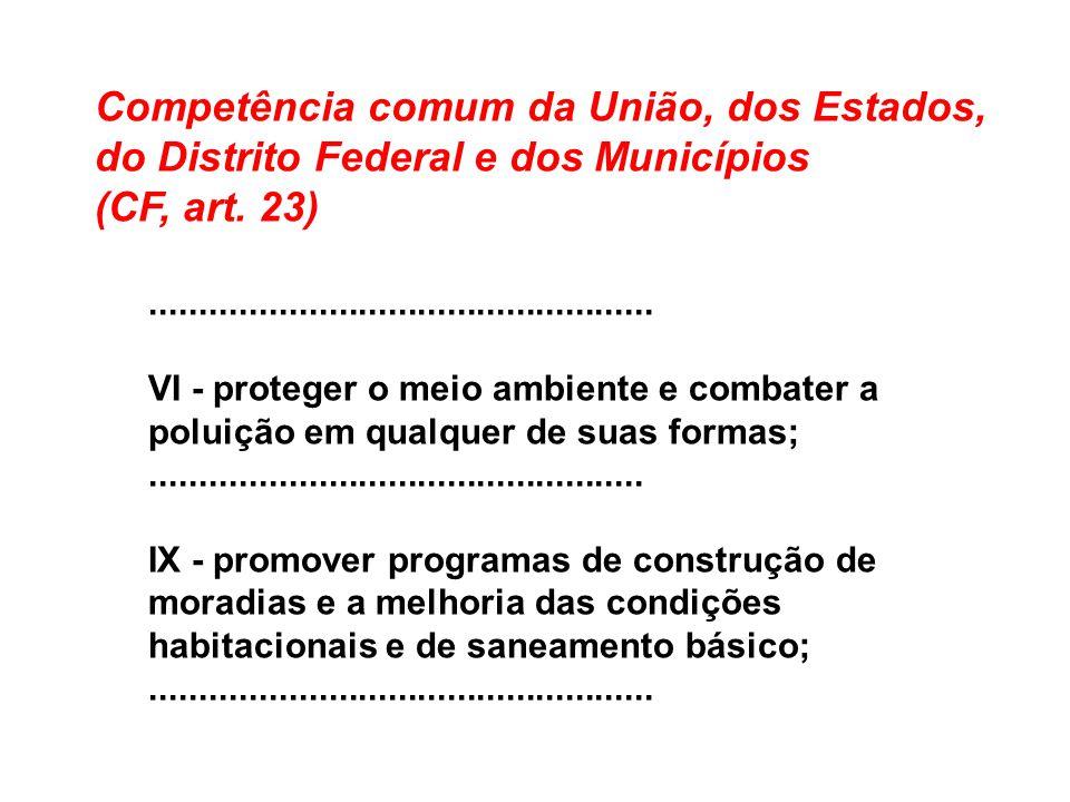 Competência comum da União, dos Estados, do Distrito Federal e dos Municípios (CF, art. 23)................................................... VI - pr