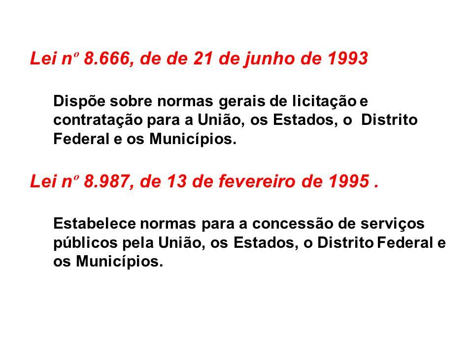 Lei n º 8.666, de de 21 de junho de 1993 Dispõe sobre normas gerais de licitação e contratação para a União, os Estados, o Distrito Federal e os Munic