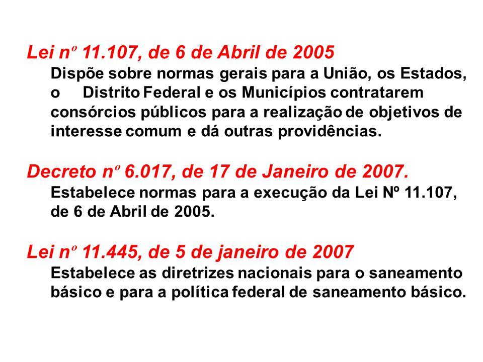 Lei n º 11.107, de 6 de Abril de 2005 Dispõe sobre normas gerais para a União, os Estados, o Distrito Federal e os Municípios contratarem consórcios p