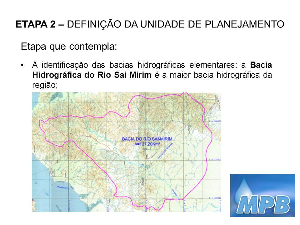 ETAPA 2 – DEFINIÇÃO DA UNIDADE DE PLANEJAMENTO Etapa que contempla: A identificação das bacias hidrográficas elementares: a Bacia Hidrográfica do Rio