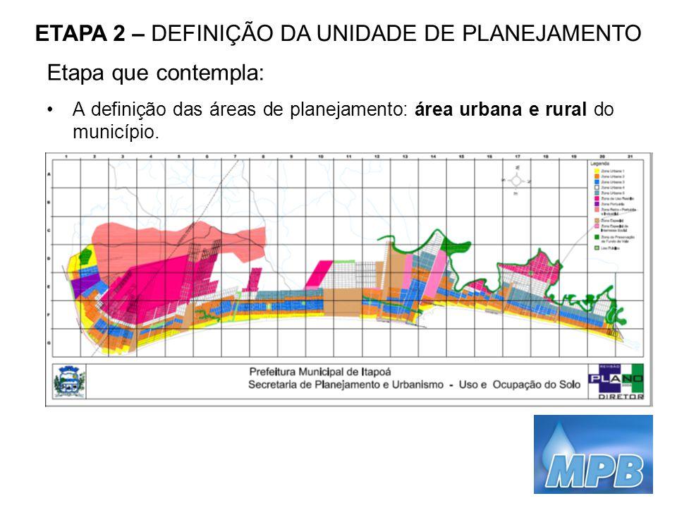 ETAPA 2 – DEFINIÇÃO DA UNIDADE DE PLANEJAMENTO Etapa que contempla: A definição das áreas de planejamento: área urbana e rural do município.