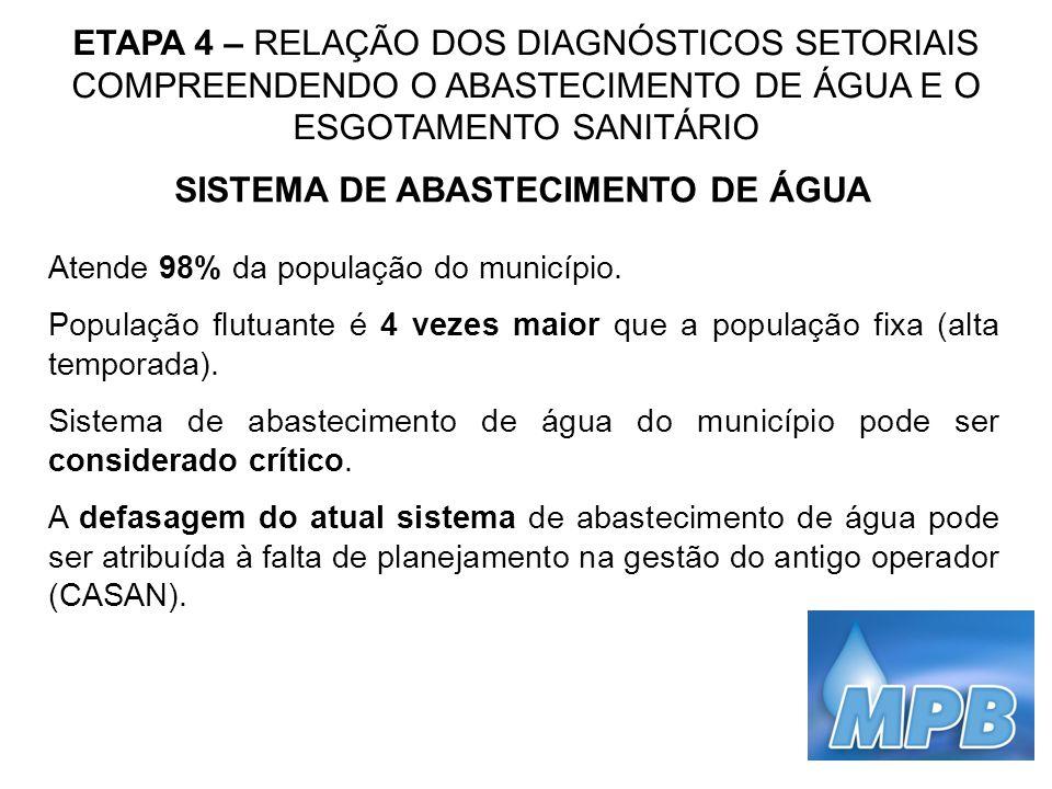 ETAPA 4 – RELAÇÃO DOS DIAGNÓSTICOS SETORIAIS COMPREENDENDO O ABASTECIMENTO DE ÁGUA E O ESGOTAMENTO SANITÁRIO SISTEMA DE ABASTECIMENTO DE ÁGUA Atende 9