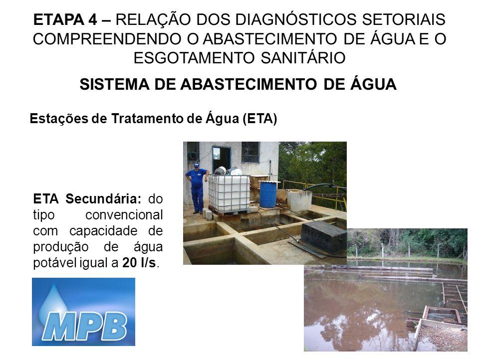 ETAPA 4 – RELAÇÃO DOS DIAGNÓSTICOS SETORIAIS COMPREENDENDO O ABASTECIMENTO DE ÁGUA E O ESGOTAMENTO SANITÁRIO SISTEMA DE ABASTECIMENTO DE ÁGUA Estações