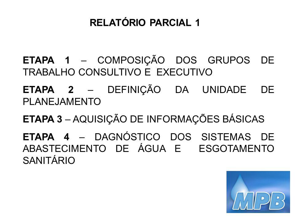 RELATÓRIO PARCIAL 1 ETAPA 1 – COMPOSIÇÃO DOS GRUPOS DE TRABALHO CONSULTIVO E EXECUTIVO ETAPA 2 – DEFINIÇÃO DA UNIDADE DE PLANEJAMENTO ETAPA 3 – AQUISI