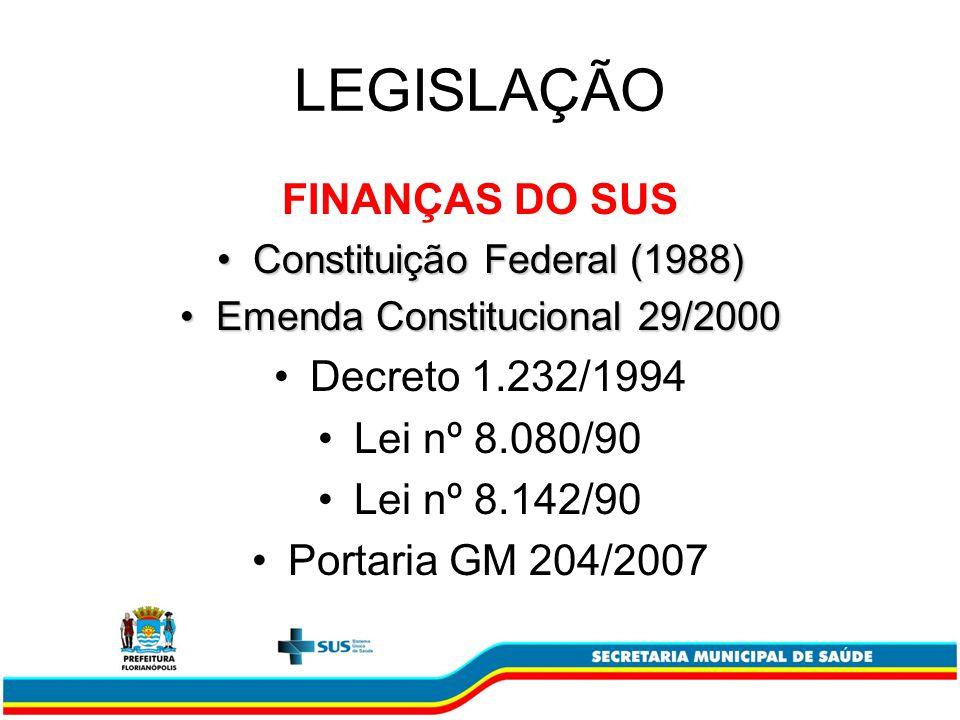 LEGISLAÇÃO FINANÇAS DO SUS Constituição Federal (1988)Constituição Federal (1988) Emenda Constitucional 29/2000Emenda Constitucional 29/2000 Decreto 1