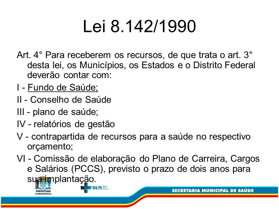 Lei 8.142/1990 Art. 4° Para receberem os recursos, de que trata o art. 3° desta lei, os Municípios, os Estados e o Distrito Federal deverão contar com