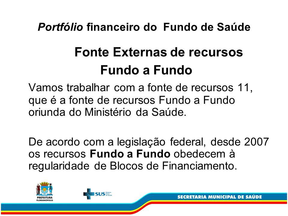 Portfólio financeiro do Fundo de Saúde Fonte Externas de recursos Fundo a Fundo Vamos trabalhar com a fonte de recursos 11, que é a fonte de recursos Fundo a Fundo oriunda do Ministério da Saúde.