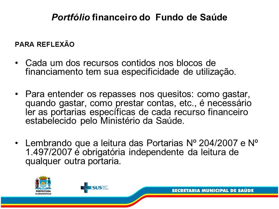 Portfólio financeiro do Fundo de Saúde PARA REFLEXÃO Cada um dos recursos contidos nos blocos de financiamento tem sua especificidade de utilização. P