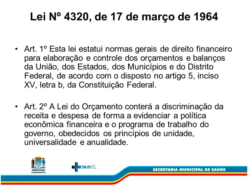 Lei Nº 4320, de 17 de março de 1964 Art. 1º Esta lei estatui normas gerais de direito financeiro para elaboração e controle dos orçamentos e balanços