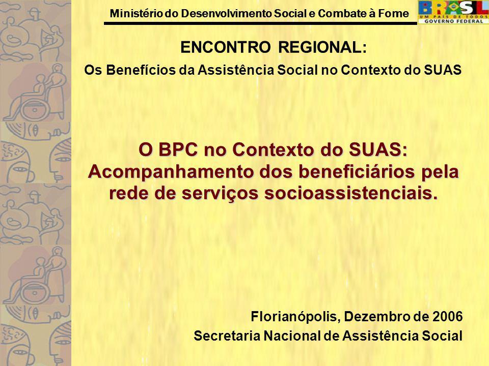 Ministério do Desenvolvimento Social e Combate à Fome Perfil dos Beneficiários Tabela 7- Resumo dos principais gastos realizados com o BPC/Pessoa idosa - amostra 85.483 beneficiários Principais GastosN.A% Medicamentos63.45362% Tratamento31.32129% Aluguel8.0461% Órtese e Prótese6548% Fonte: Revas Gerencial, 2006