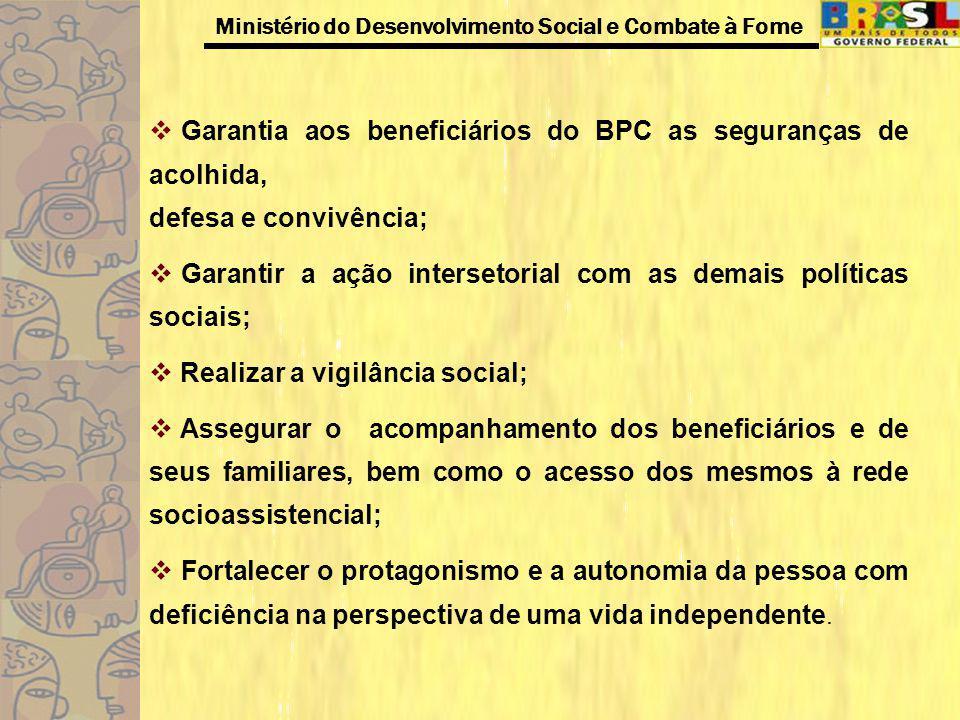 Ministério do Desenvolvimento Social e Combate à Fome Garantia aos beneficiários do BPC as seguranças de acolhida, defesa e convivência; Garantir a aç