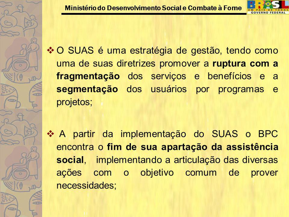 Ministério do Desenvolvimento Social e Combate à Fome O SUAS é uma estratégia de gestão, tendo como uma de suas diretrizes promover a ruptura com a fr