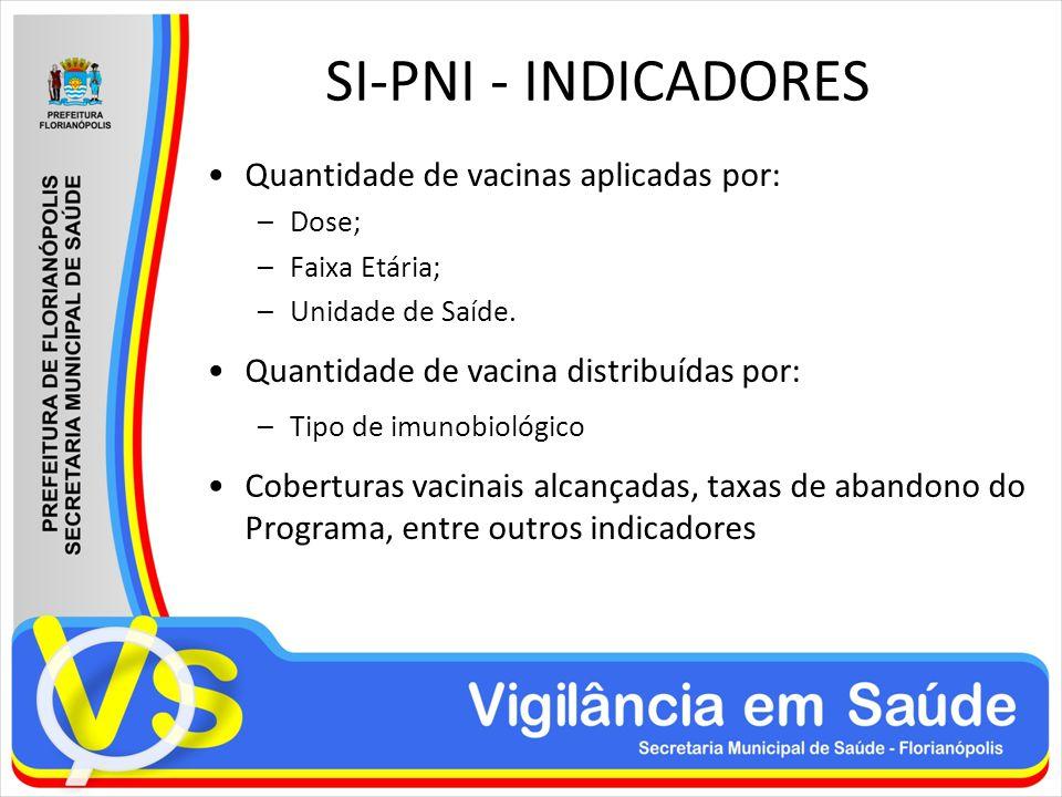 SI-PNI - INDICADORES Quantidade de vacinas aplicadas por: –Dose; –Faixa Etária; –Unidade de Saíde. Quantidade de vacina distribuídas por: –Tipo de imu