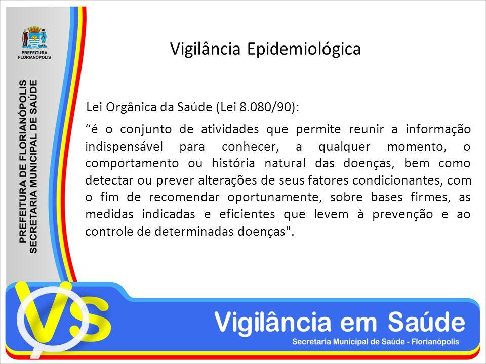 Vigilância Epidemiológica Lei Orgânica da Saúde (Lei 8.080/90): é o conjunto de atividades que permite reunir a informação indispensável para conhecer