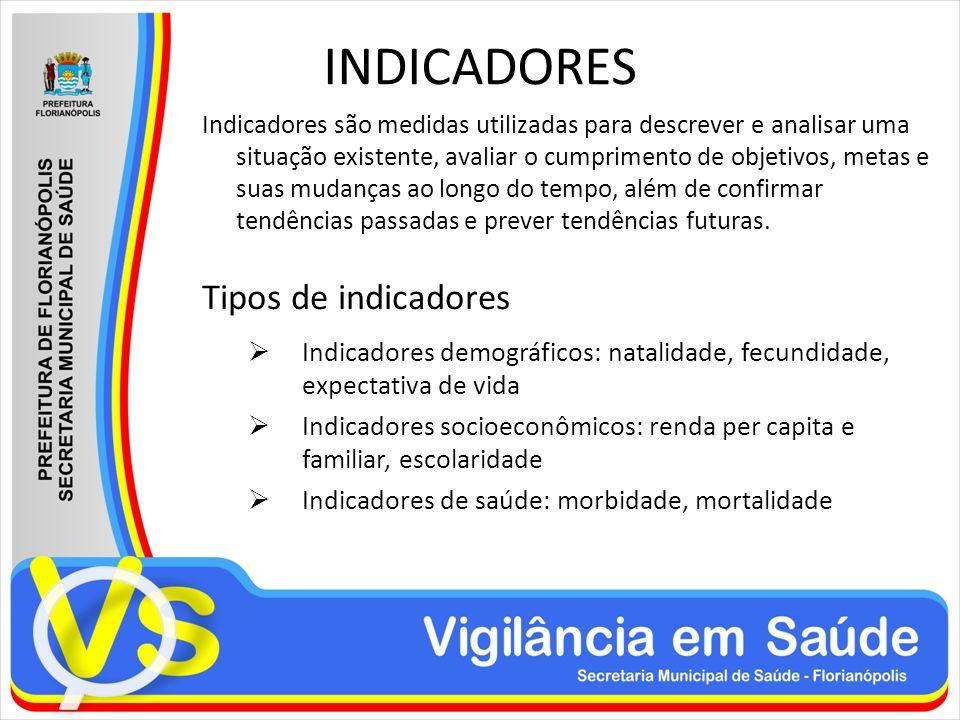 INDICADORES Indicadores são medidas utilizadas para descrever e analisar uma situação existente, avaliar o cumprimento de objetivos, metas e suas muda