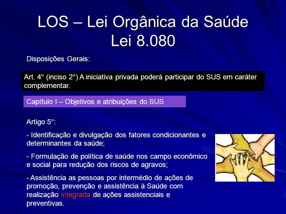 LOS – Lei Orgânica da Saúde Lei 8.080 Disposições Gerais: Art. 4° (inciso 2°) A iniciativa privada poderá participar do SUS em caráter complementar. C