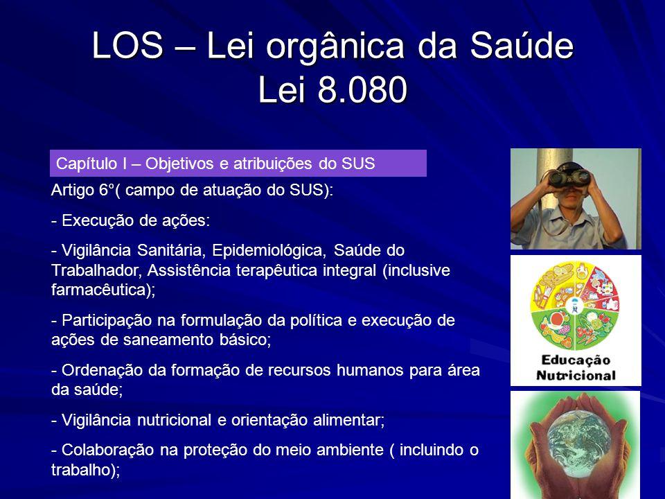 LOS – Lei orgânica da Saúde Lei 8.080 Capítulo I – Objetivos e atribuições do SUS Artigo 6°( campo de atuação do SUS): - Execução de ações: - Vigilânc