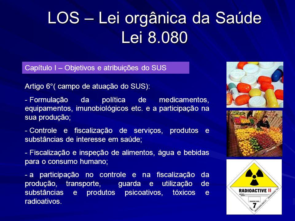 LOS – Lei orgânica da Saúde Lei 8.080 Capítulo I – Objetivos e atribuições do SUS Artigo 6°( campo de atuação do SUS): - Formulação da política de med