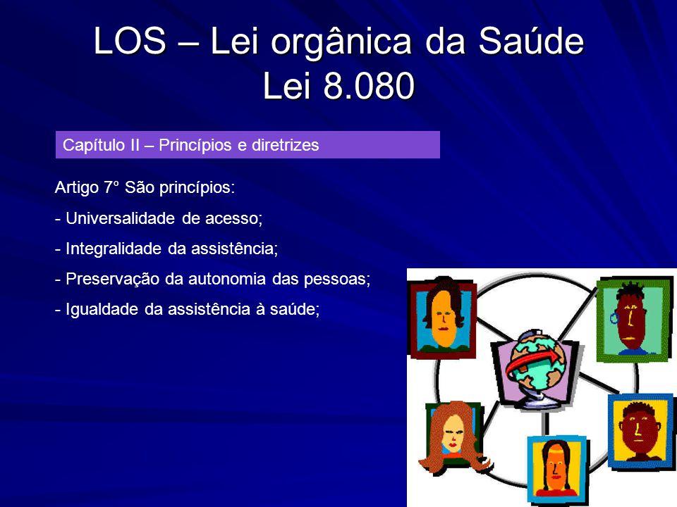 LOS – Lei orgânica da Saúde Lei 8.080 Capítulo II – Princípios e diretrizes Artigo 7° São princípios: - Universalidade de acesso; - Integralidade da a