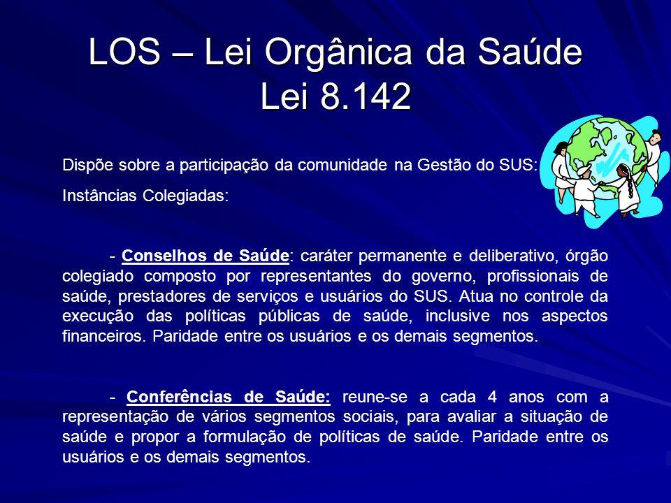 LOS – Lei Orgânica da Saúde Lei 8.142 Dispõe sobre a participação da comunidade na Gestão do SUS: Instâncias Colegiadas: - Conselhos de Saúde: caráter