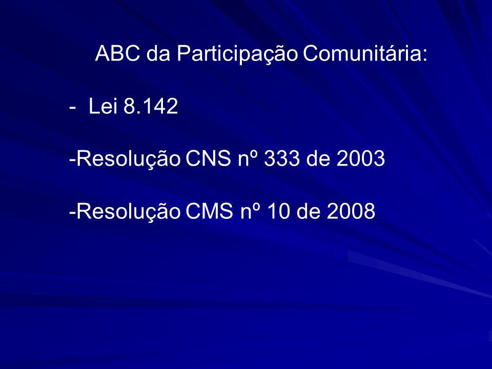 ABC da Participação Comunitária: - Lei 8.142 -Resolução CNS nº 333 de 2003 -Resolução CMS nº 10 de 2008