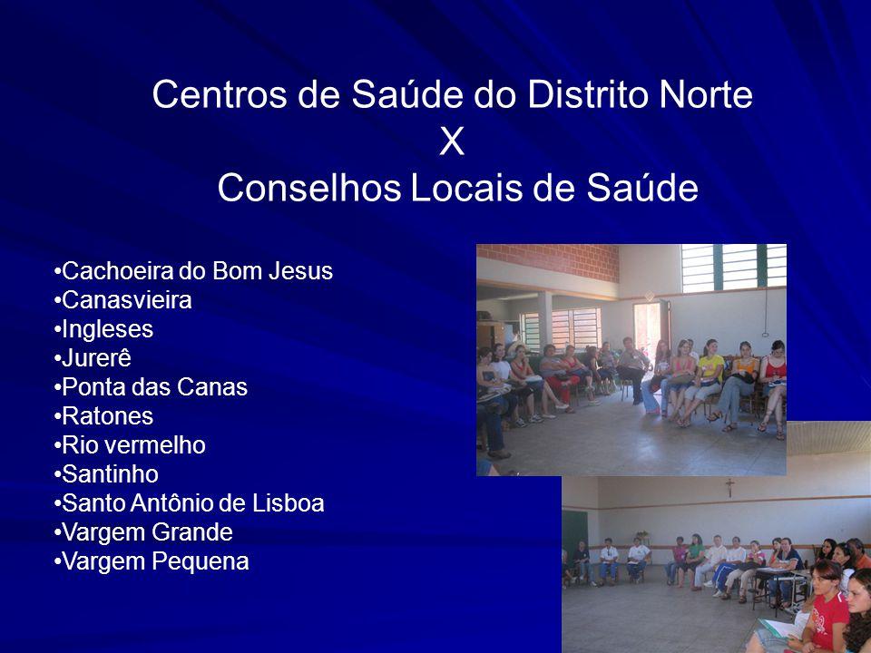 Centros de Saúde do Distrito Norte X Conselhos Locais de Saúde Cachoeira do Bom Jesus Canasvieira Ingleses Jurerê Ponta das Canas Ratones Rio vermelho