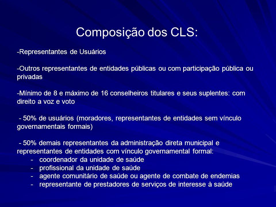 Composição dos CLS: -Representantes de Usuários -Outros representantes de entidades públicas ou com participação pública ou privadas -Mínimo de 8 e má