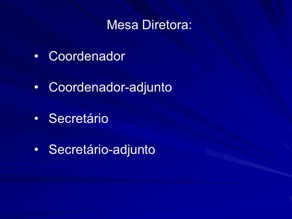 Mesa Diretora: Coordenador Coordenador-adjunto Secretário Secretário-adjunto