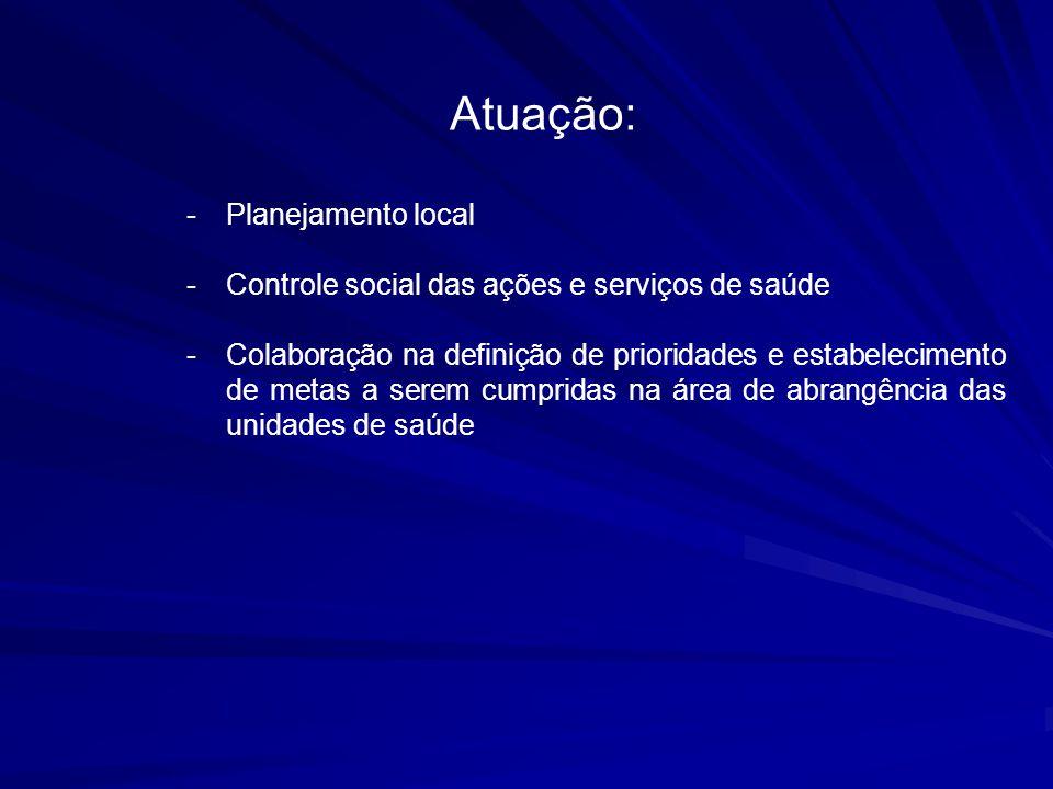 Atuação: -Planejamento local -Controle social das ações e serviços de saúde -Colaboração na definição de prioridades e estabelecimento de metas a sere