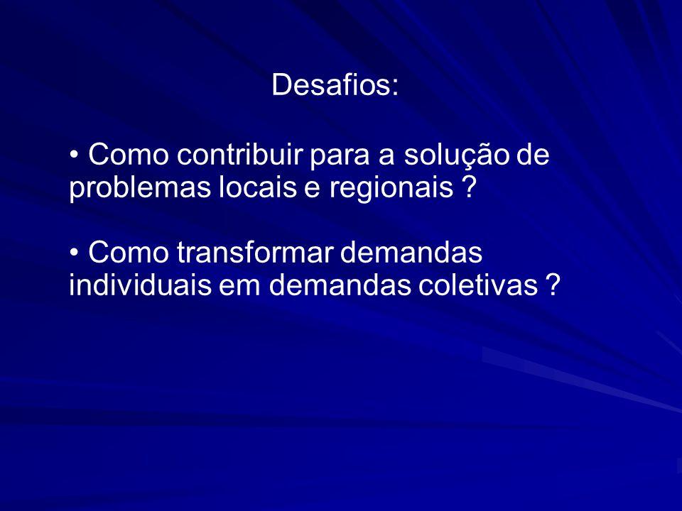 Desafios: Como contribuir para a solução de problemas locais e regionais ? Como transformar demandas individuais em demandas coletivas ?