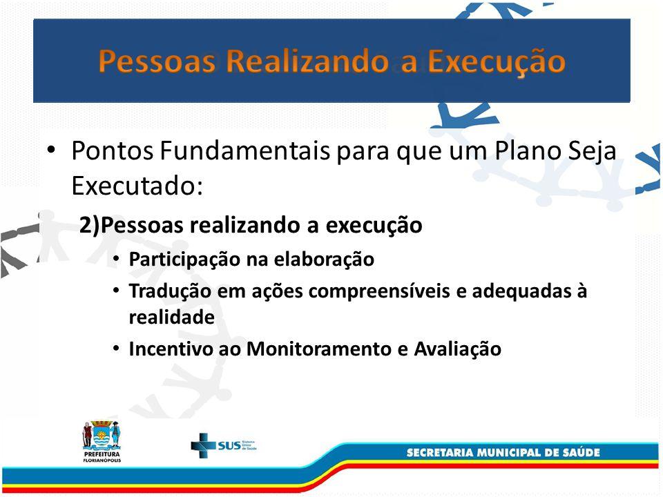 Pontos Fundamentais para que um Plano Seja Executado: 2)Pessoas realizando a execução Participação na elaboração Tradução em ações compreensíveis e adequadas à realidade Incentivo ao Monitoramento e Avaliação