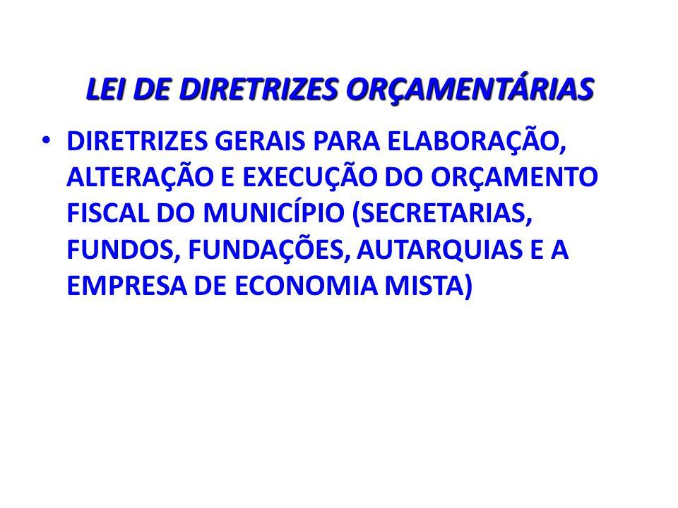 LEI DE DIRETRIZES ORÇAMENTÁRIAS DIRETRIZES GERAIS PARA ELABORAÇÃO, ALTERAÇÃO E EXECUÇÃO DO ORÇAMENTO FISCAL DO MUNICÍPIO (SECRETARIAS, FUNDOS, FUNDAÇÕES, AUTARQUIAS E A EMPRESA DE ECONOMIA MISTA)