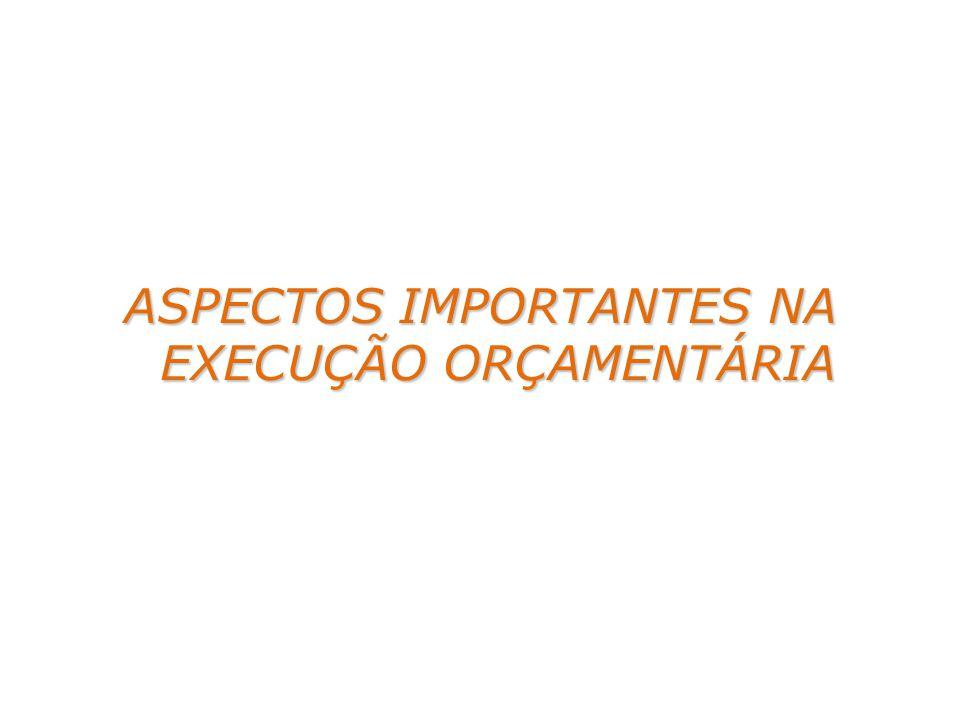 ASPECTOS IMPORTANTES NA EXECUÇÃO ORÇAMENTÁRIA