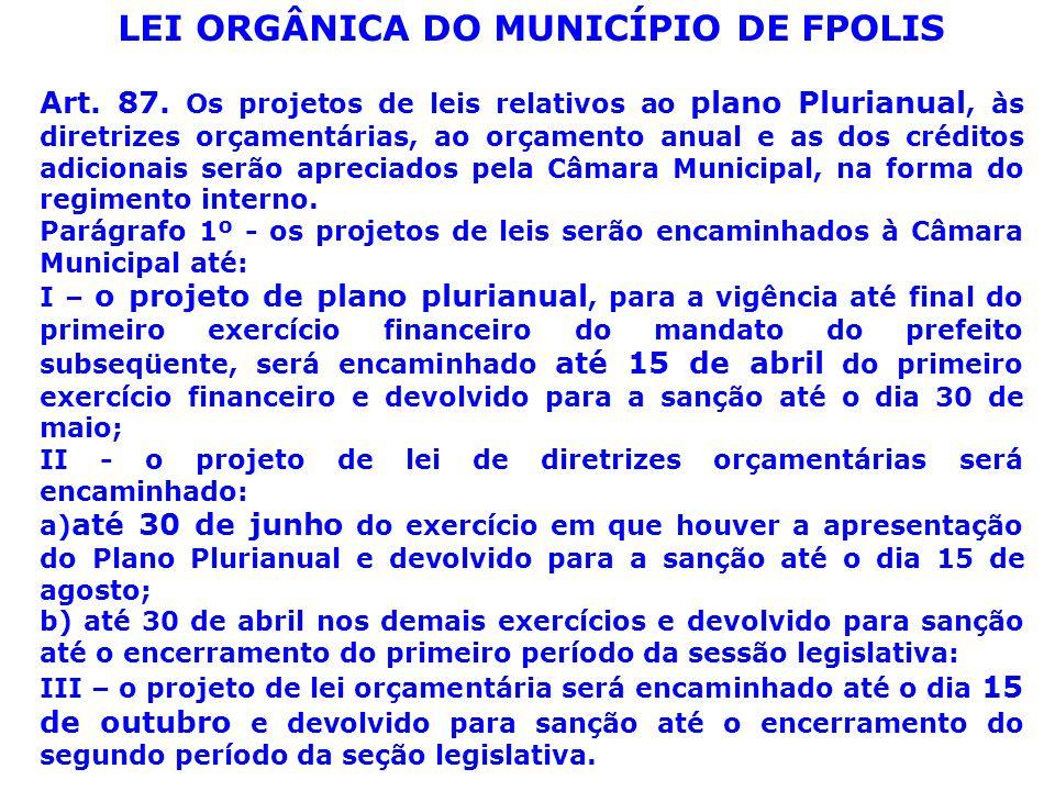 LEI ORGÂNICA DO MUNICÍPIO DE FPOLIS Art. 87.