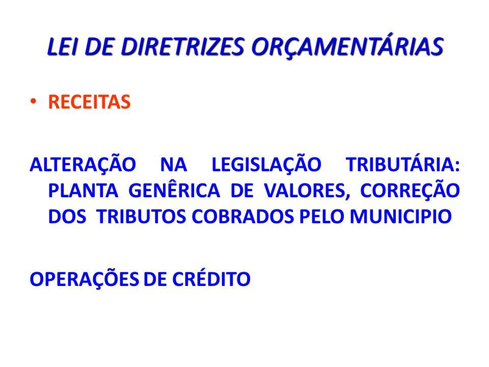 LEI DE DIRETRIZES ORÇAMENTÁRIAS RECEITAS ALTERAÇÃO NA LEGISLAÇÃO TRIBUTÁRIA: PLANTA GENÊRICA DE VALORES, CORREÇÃO DOS TRIBUTOS COBRADOS PELO MUNICIPIO OPERAÇÕES DE CRÉDITO