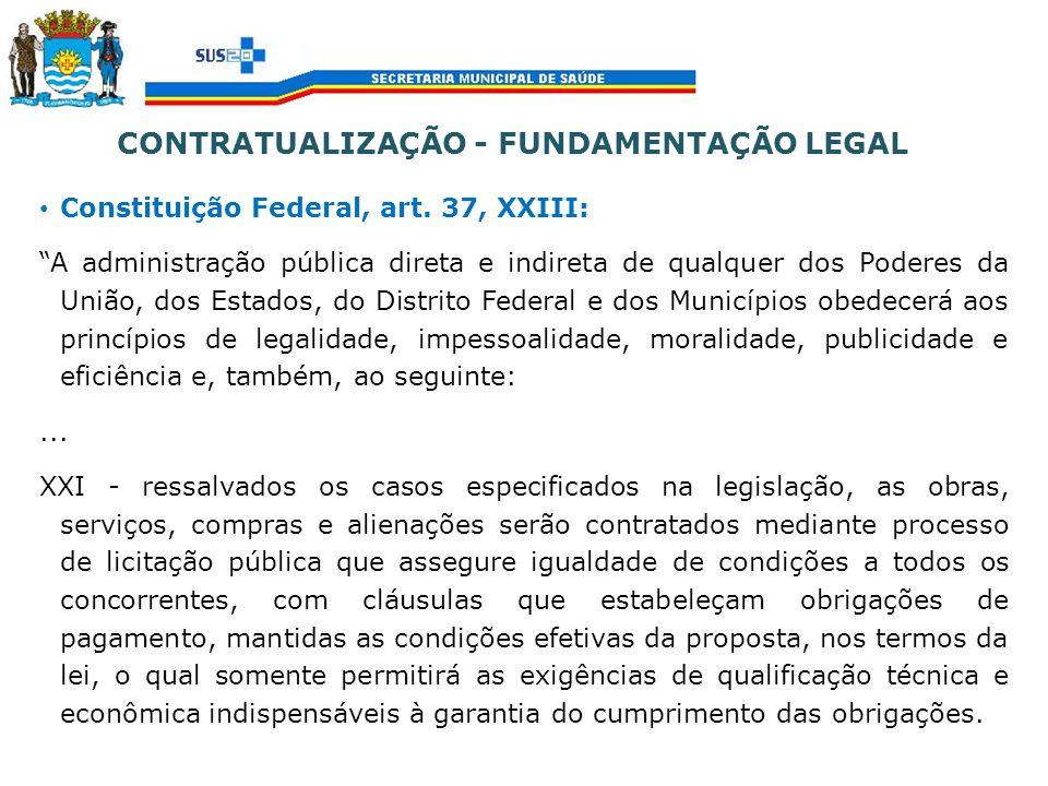 CONTRATUALIZAÇÃO - FUNDAMENTAÇÃO LEGAL Constituição Federal, art. 37, XXIII: A administração pública direta e indireta de qualquer dos Poderes da Uniã