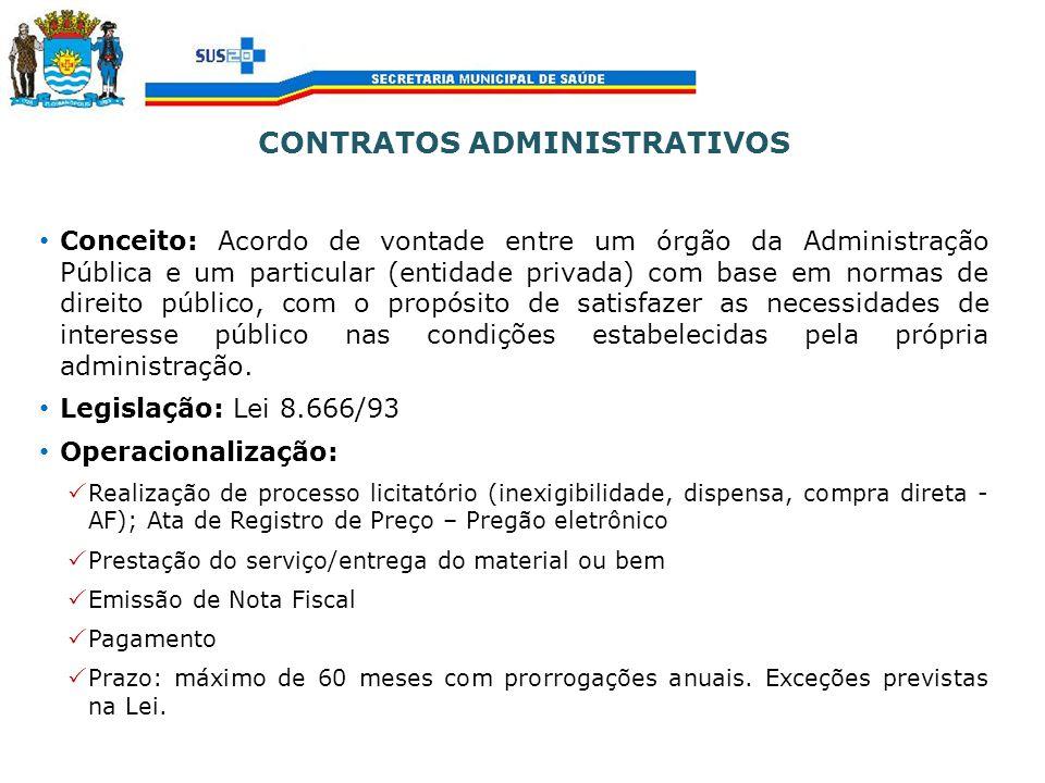 CONTRATOS ADMINISTRATIVOS Conceito: Acordo de vontade entre um órgão da Administração Pública e um particular (entidade privada) com base em normas de
