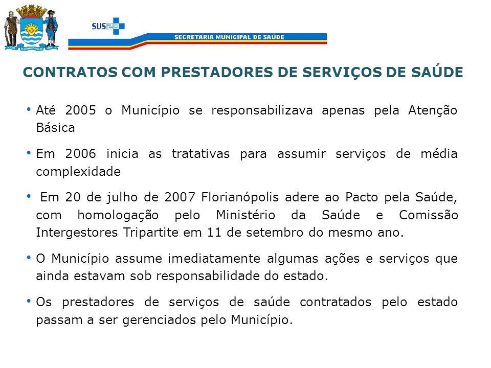 CONTRATOS COM PRESTADORES DE SERVIÇOS DE SAÚDE Até 2005 o Município se responsabilizava apenas pela Atenção Básica Em 2006 inicia as tratativas para a