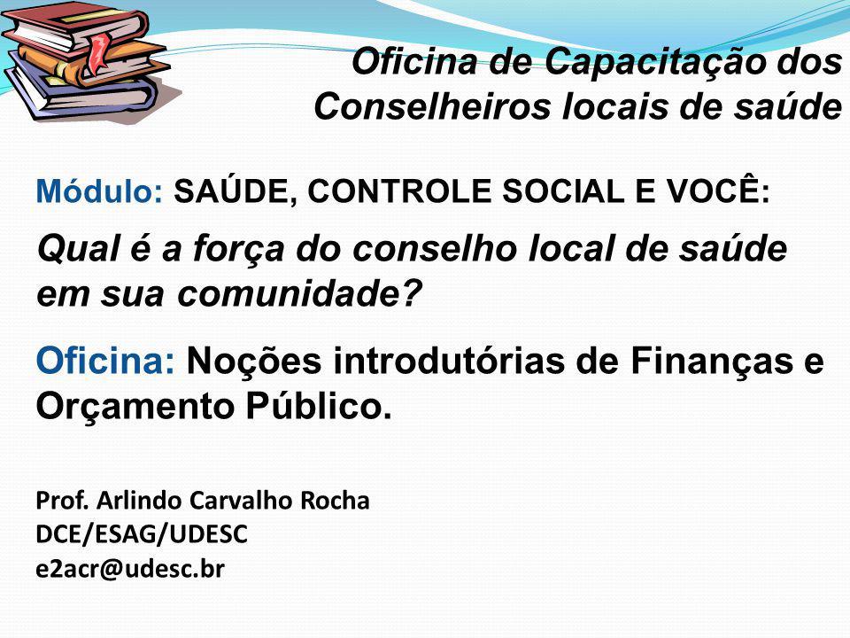 · Oficina de Capacitação dos Conselheiros locais de saúde Módulo: SAÚDE, CONTROLE SOCIAL E VOCÊ: Qual é a força do conselho local de saúde em sua comunidade.