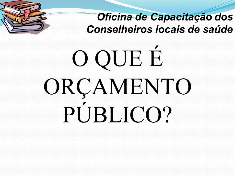 O QUE É ORÇAMENTO PÚBLICO? · Oficina de Capacitação dos Conselheiros locais de saúde