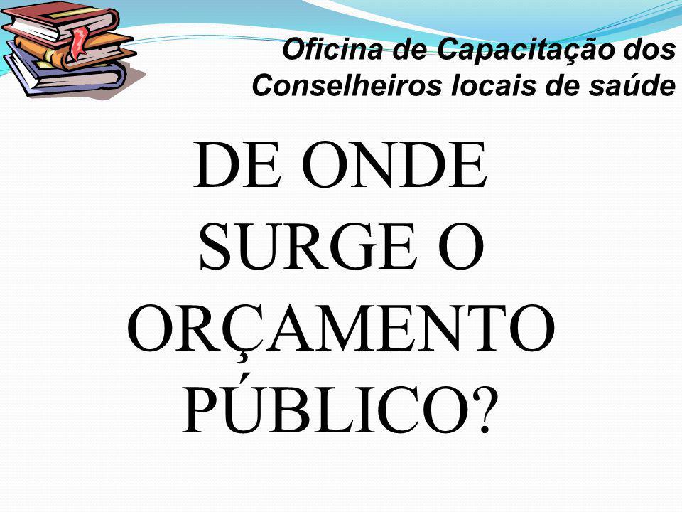 DE ONDE SURGE O ORÇAMENTO PÚBLICO? · Oficina de Capacitação dos Conselheiros locais de saúde