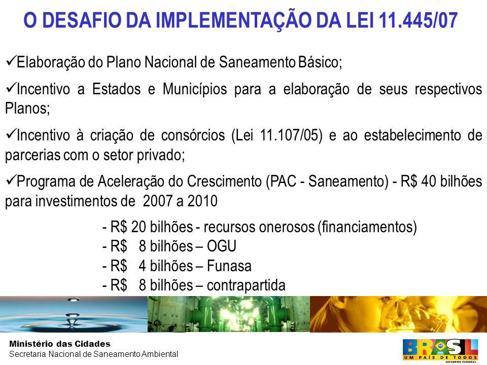 Ministério das Cidades Secretaria Nacional de Saneamento Ambiental O DESAFIO DA IMPLEMENTAÇÃO DA LEI 11.445/07 Elaboração do Plano Nacional de Saneamento Básico; Incentivo a Estados e Municípios para a elaboração de seus respectivos Planos; Incentivo à criação de consórcios (Lei 11.107/05) e ao estabelecimento de parcerias com o setor privado; Programa de Aceleração do Crescimento (PAC - Saneamento) - R$ 40 bilhões para investimentos de 2007 a 2010 - R$ 20 bilhões - recursos onerosos (financiamentos) - R$ 8 bilhões – OGU - R$ 4 bilhões – Funasa - R$ 8 bilhões – contrapartida