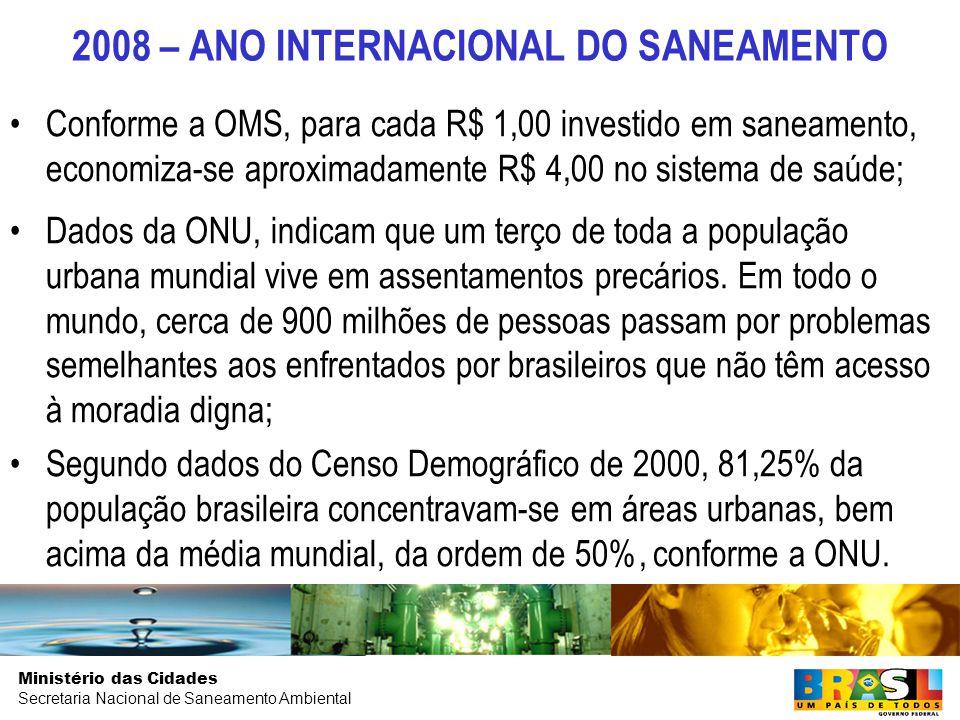 Ministério das Cidades Secretaria Nacional de Saneamento Ambiental MINISTÉRIO DAS CIDADES Secretaria Nacional de Saneamento Ambiental
