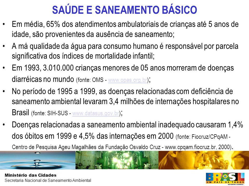 Ministério das Cidades Secretaria Nacional de Saneamento Ambiental GASTO PÚBLICO EM SANEAMENTO BÁSICO