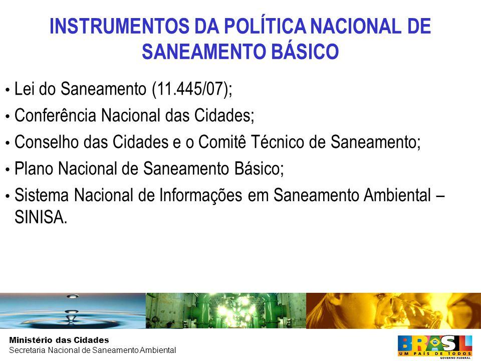 Ministério das Cidades Secretaria Nacional de Saneamento Ambiental Lei do Saneamento (11.445/07); Conferência Nacional das Cidades; Conselho das Cidades e o Comitê Técnico de Saneamento; Plano Nacional de Saneamento Básico; Sistema Nacional de Informações em Saneamento Ambiental – SINISA.